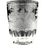 Superb 19th Century Intaglio Cut Etched Bohemian Glass Beaker