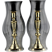 Fine Pair of 19th Century Hand Blown Colorless Glass Hurricane Shades