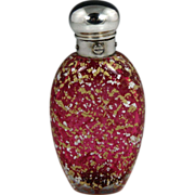 Rare & Beautiful Victorian Sterling Mounted Cased Cranberry Glass Scent Bottle