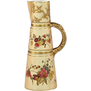 Royal Worcester Blush Ivory Ewer with Hand Painted Decoration