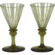 Pair of circa 1820 English Hand Blown Amber Wine Glasses