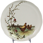 Charming Circa 1885 Brown, Westhead, Moore & Co. Low Porcelain Compote with Chicken Motif