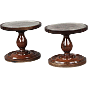 Unusual Pair of Circa 1830 English Turned Mahogany Candle Stands