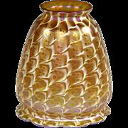 Quezal Gold Iridescent Art Glass Lamp Shade in Rare Snakeskin Pattern
