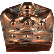 Delightful 19th Century Miniature Figural Crown Copper Culinary Mould Mold