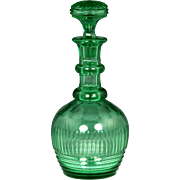 Fantastic Circa 1830 English Free Blown and Cut Apple Green Glass Decanter