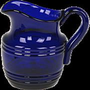 Wonderful Early 19th Century English Free Blown Cobalt Glass Jug