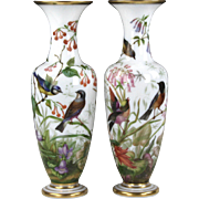Stunning Pair of Circa 1845 Baccarat White Opal Crystal Vases Hand Painted with Birds and Botanicals by Jean-Francois Robert