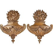 Fabulous Pair of Circa 1840 Hand Carved Oak Architectural Flaming Urns