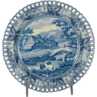Charming early 19th Century Staffordshire Transferware Plate with Reticulated Border from the British Scenery Series