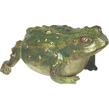 Rare and Delightful Circa 1900 Austrian Cold Painted Bronze Toad