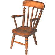 Exceptional Circa 1850 Hand Carved Sycamore Miniature Windsor Chair