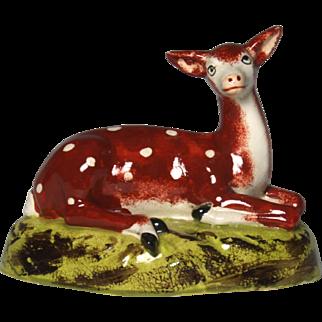 Charming 19th Century Staffordshire Creamware Figure of Recumbent Red Deer