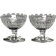 Beautiful Pair of Circa 1810 Anglo Irish Cut Glass Salts with Crenellated Rims