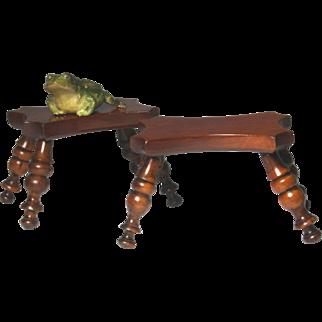 Rare and Superb Pair of Circa 1840 English Turned Derbyshire Dresser Stools