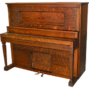 Antique Victorian Oak Player Piano by Aeolian Company