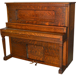Antique Victorian Oak Player Piano by Aeolian Company