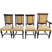 Set of Four Oak Carved Dining Chairs