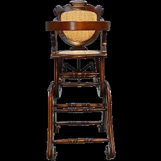 Victorian Burl Walnut Children's Collapsible Stroller High Chair Rocker