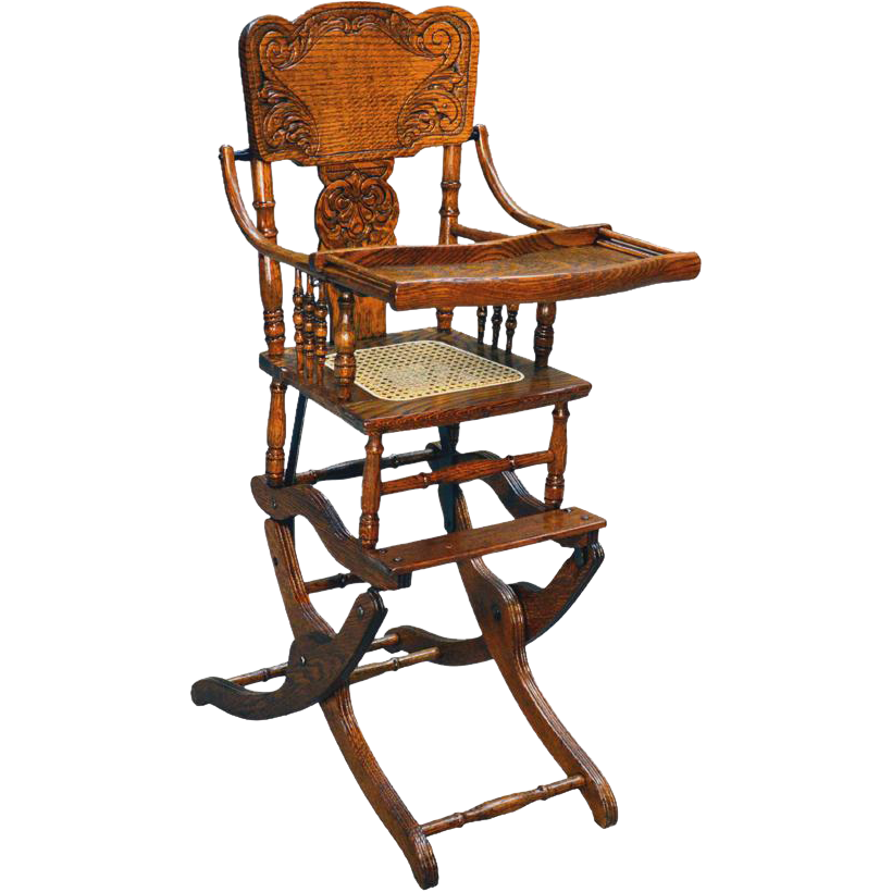 Antique Victorian Oak Press Back Rocker Collapsible High Chair - Antique Victorian Oak Press Back Rocker Collapsible High Chair