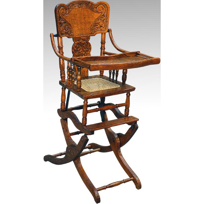 Antique Victorian Oak Press Back Rocker Collapsible High Chair - Antique Wooden High Chair Rocker - Chair Design Ideas