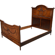 Antique French Victorian Oak Carved Bed