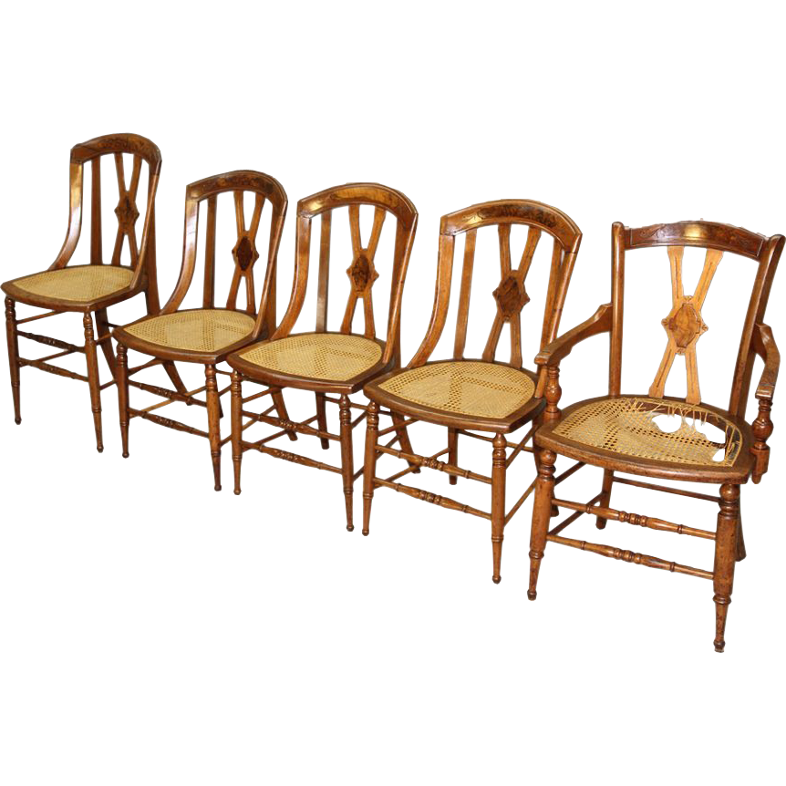 Antique Set Of 5 Victorian Dining Chairs From