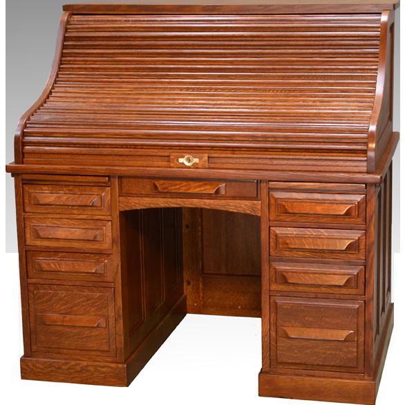 Antique Victorian Oak Roll Top Desk By Cutler