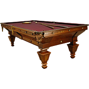Antique Victorian Rosewood and Walnut Brunswick Pool Table-1890's