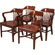 Vintage Set of 4 Mahogany Lawyer Arm Chairs