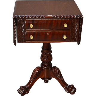 Antique Mahogany Empire Acanthus Carved Drop Leaf Two Drawer Sewing Stand