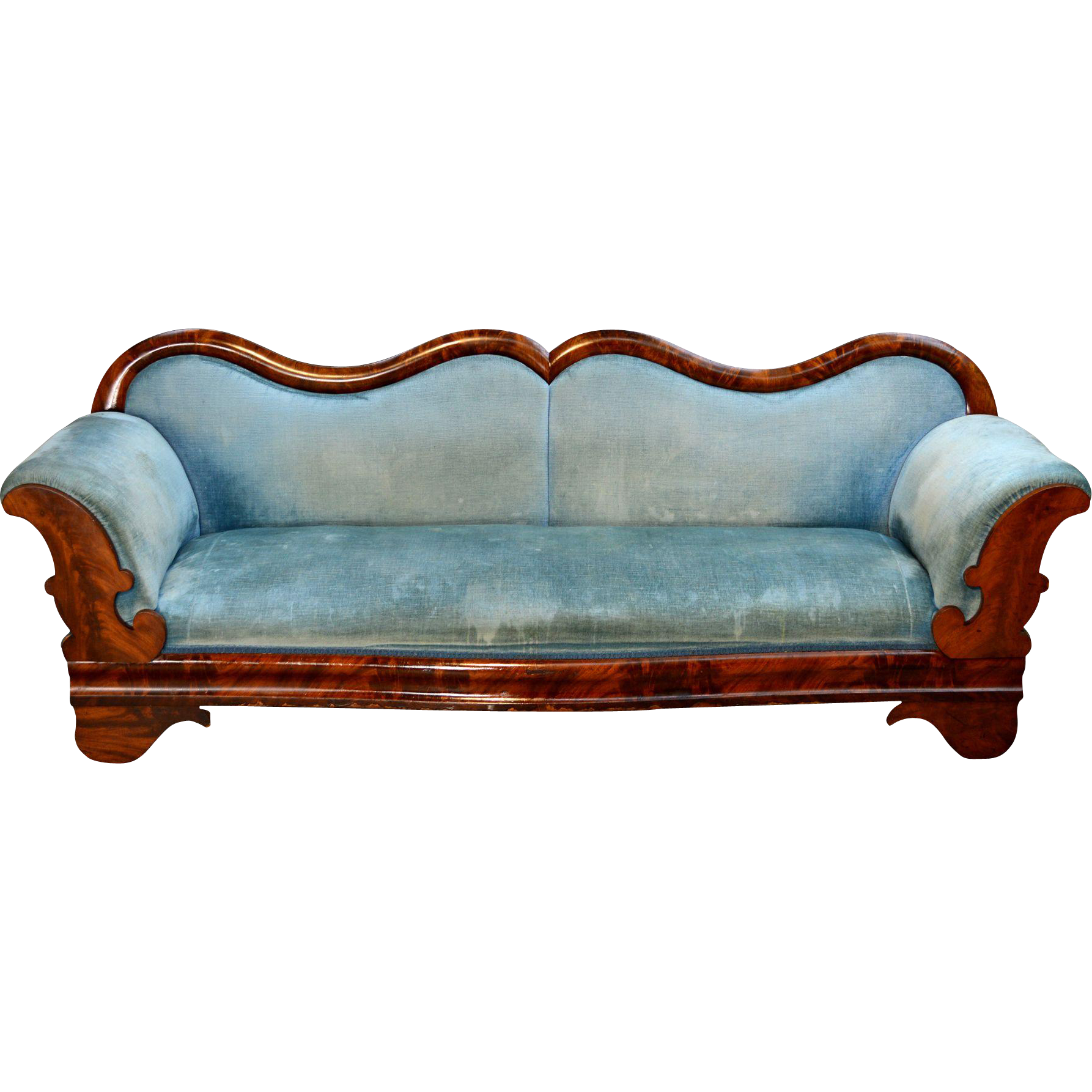 Antique Period Civil War Era Mahogany Empire Sofa from