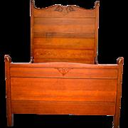 Antique Carved Oak Victorian Full Size Bed