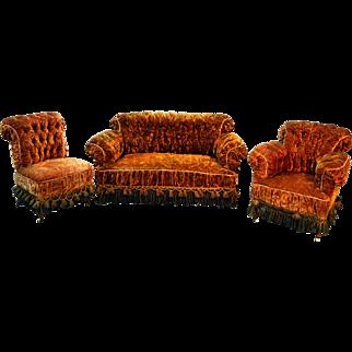 Antique Three Piece Victorian Gold Parlor Set