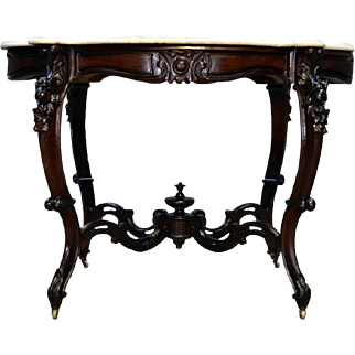 Antique Rosewood Rococo Carved Marble Top Oversized Parlor Stand