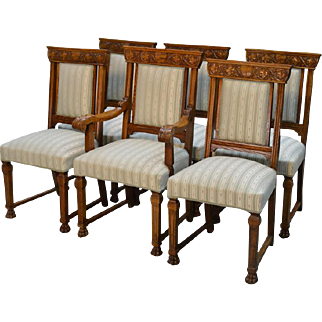 Set of 6 Oak Victorian Claw Foot Dining Chairs - Horner Quality