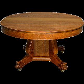 Antique Victorian Round Oak Split Base Table w/ 3 Leaves