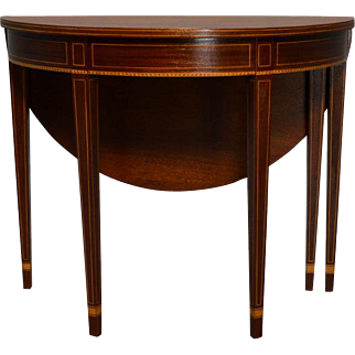 16871 Antique Mahogany Demi Lune Game Table by Kittinger