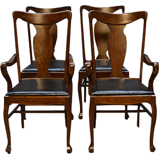 Antique Set of Four Tiger Oak Victorian Dining Chairs - Twin Arms