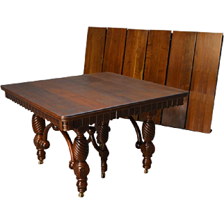 """Victorian Walnut Banquet Table with 6 Skirted 12"""" Leaves-OPENS 10 FEET!!!"""