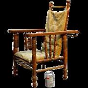 Rare Victorian Oak Children's Morris Chair w/ Original Cushion & Rod
