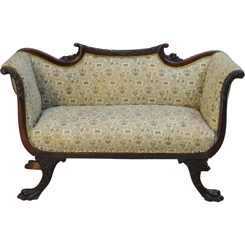 Antique mahogany regency claw foot carved victorian sofa for Victorian sofa