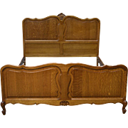 French Victorian Raised Panel Carved Full Size Bed