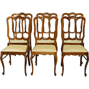 Set of 6 Solid Oak Carved French Dining Chairs