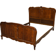 Carved Oak Raised Panel French Bed