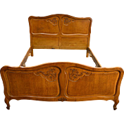 French Victorian Raised Panel Carved Oak Bed