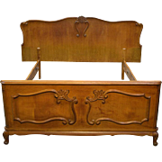 French Carved Oak Bed