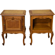 Pair of French Oak Raised Panel Carved Nightstands - Unusual