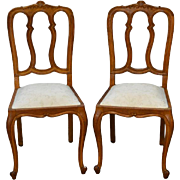 Pair of French Oak Carved Side Chairs