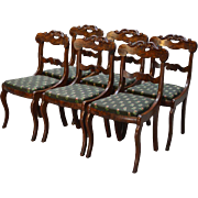 Set of 6 Period Flame Mahogany Civil War Era Empire Dining Chairs